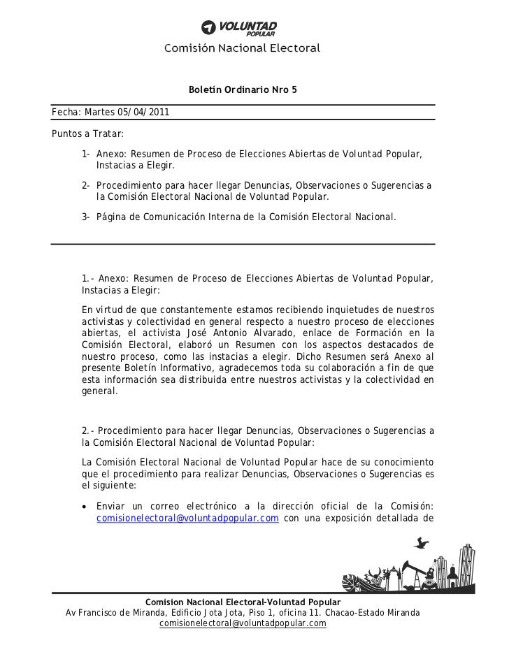 Boletín Ordinario Nro 5Fecha: Martes 05/04/2011Puntos a Tratar:      1- Anexo: Resumen de Proceso de Elecciones Abiertas d...