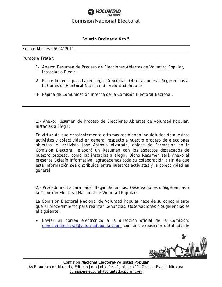 Boletín ordinario nro 5