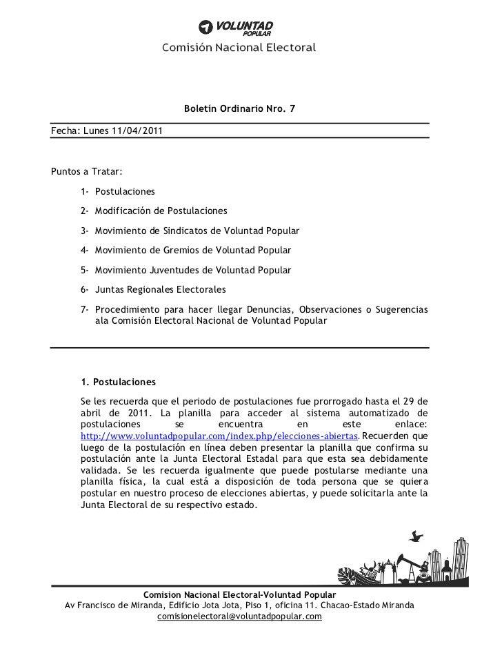 Boletín Ordinario Nro. 7Fecha: Lunes 11/04/2011Puntos a Tratar:      1- Postulaciones      2- Modificación de Postulacione...