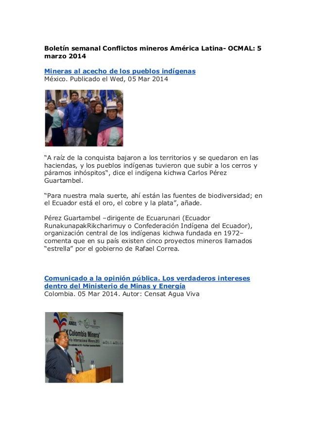 Boletín semanal Conflictos mineros América Latina- OCMAL: 5 marzo 2014 Mineras al acecho de los pueblos indígenas México. ...
