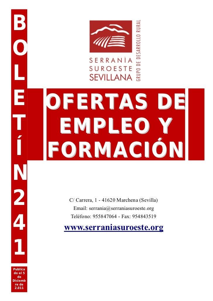 Boletín de Empleo  y Formación en nuestra Comarca