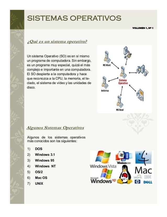 SISTEMAS OPERATIVOS                                               VOLUMEN 1, Nº 1¿Qué es un sistema operativo?Un sistema O...