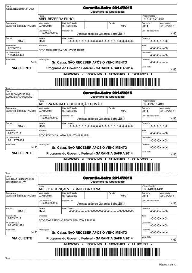 Nome ABEL BEZERRA FILHO Garantia-Safra 2014/2015 Documento de Arrecadação Nome ABEL BEZERRA FILHO Nº Identificação 1094147...