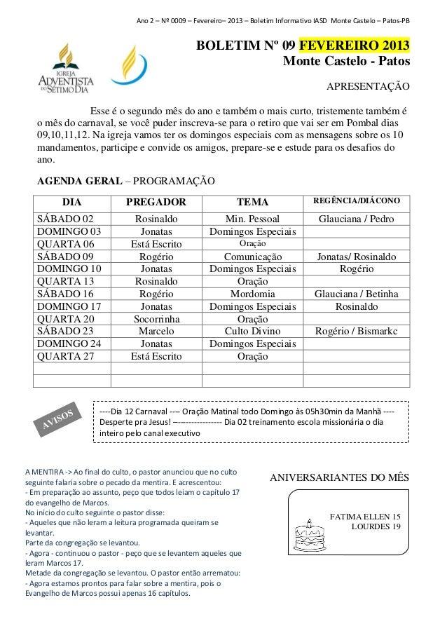 Ano 2 – Nº 0009 – Fevereiro– 2013 – Boletim Informativo IASD Monte Castelo – Patos-PB                                     ...