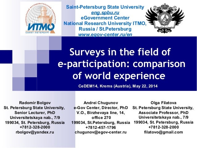 Surveys in the field of e-participation: comparison of world experience CeDEM14, Krems (Austria), May 22, 2014 Radomir Bol...