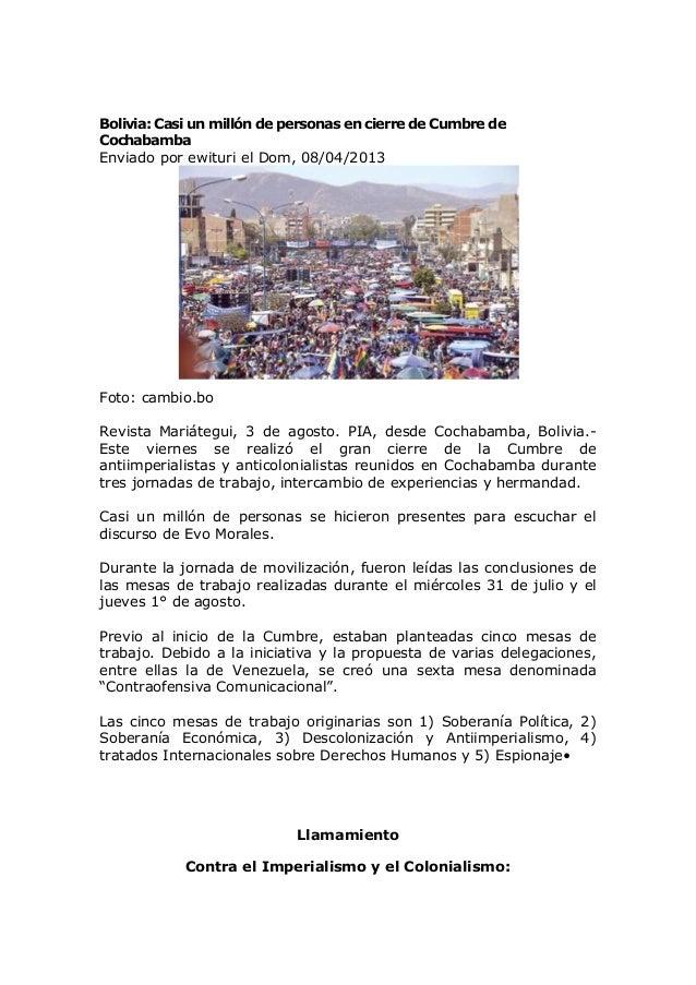 Bolivia llamamiento final cumbre cochabamba agosto 2013