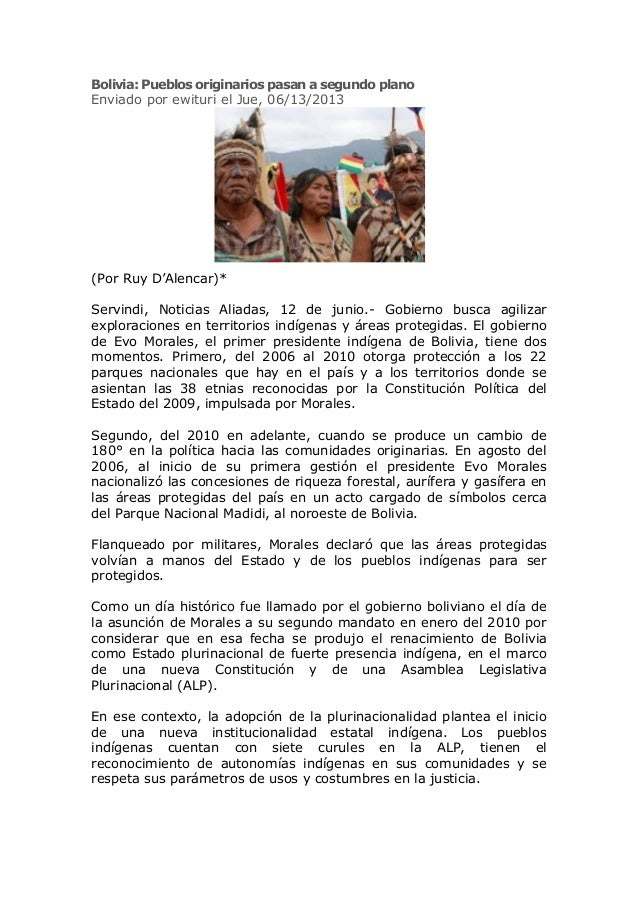 Bolivia: Pueblos originarios pasan a segundo planoEnviado por ewituri el Jue, 06/13/2013(Por Ruy D'Alencar)*Servindi, Noti...