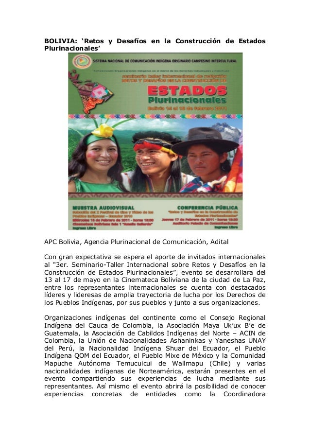 BOLIVIA: 'Retos y Desafíos en la Construcción de Estados Plurinacionales'