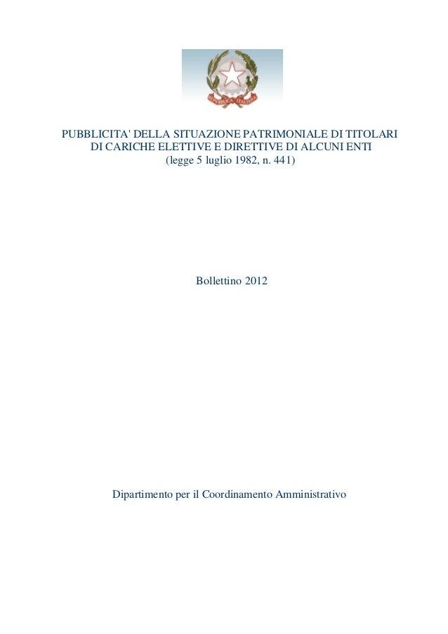 PUBBLICITA' DELLA SITUAZIONE PATRIMONIALE DI TITOLARI DI CARICHE ELETTIVE E DIRETTIVE DI ALCUNI ENTI (legge 5 luglio 1982,...