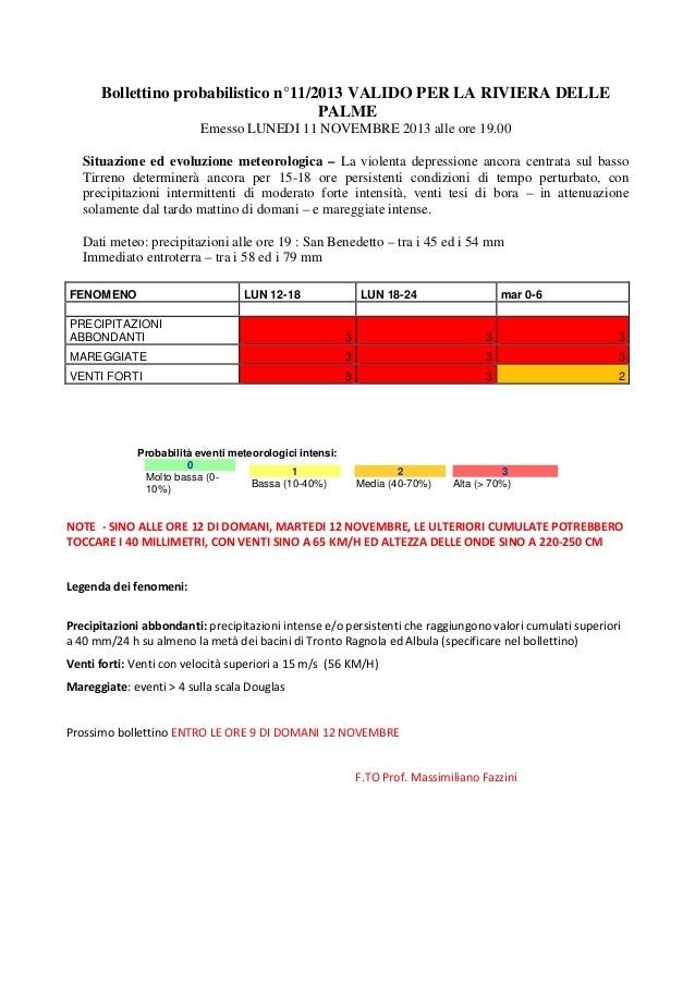 Bollettino meteo probabilistico dell'11 novembre - Aggiornamento ore 20