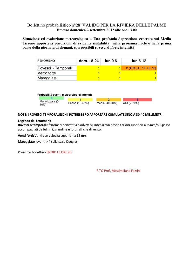 Bollettino probabilistico n°28 VALIDO PER LA RIVIERA DELLE PALME                            Emesso domenica 2 settembre 20...