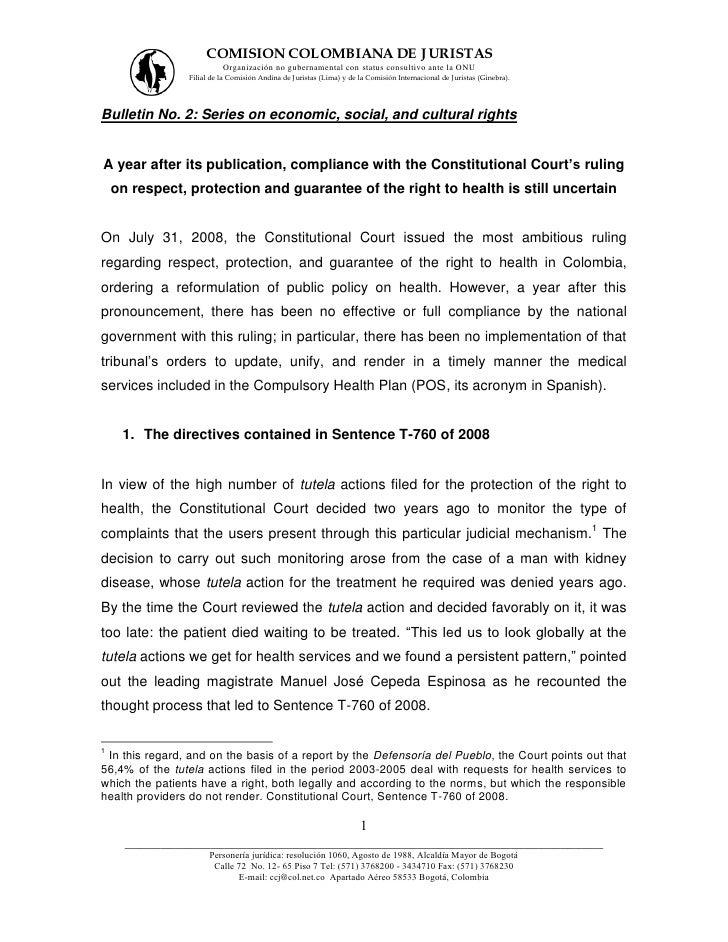 COMISION COLOMBIANA DE J URISTAS                          Organización no gubernamental con status consultivo ante la ONU ...