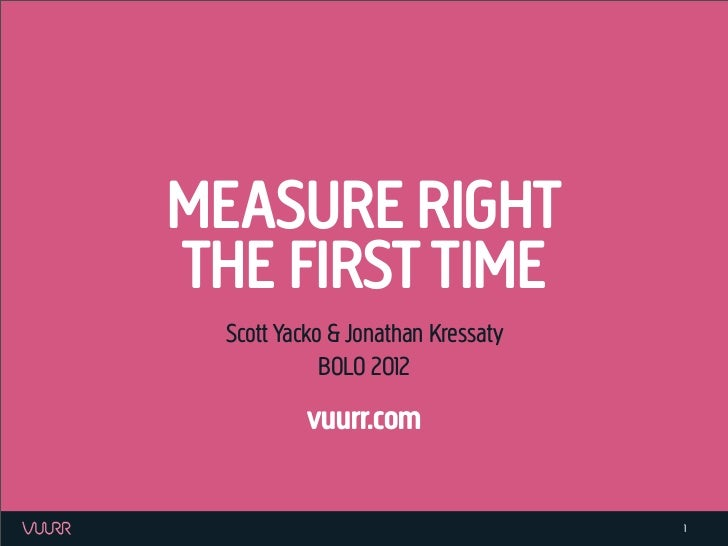 Measure Right The First Time