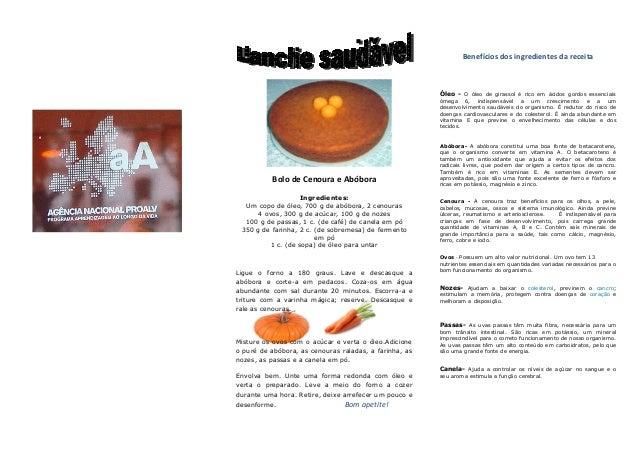 Bolo de Cenoura e Abóbora Ingredientes: Um copo de óleo, 700 g de abóbora, 2 cenouras 4 ovos, 300 g de acúcar, 100 g de no...