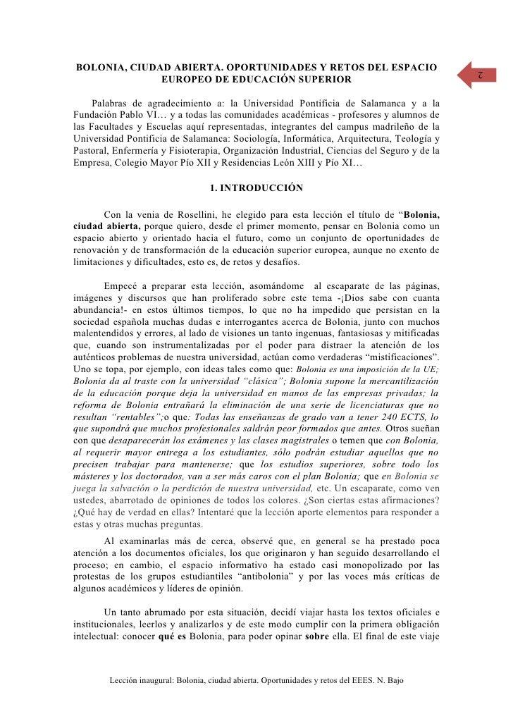 BOLONIA, CIUDAD ABIERTA. OPORTUNIDADES Y RETOS DEL ESPACIO                                    2               EUROPEO DE E...