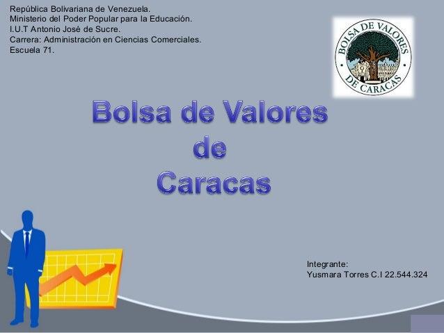 República Bolivariana de Venezuela. Ministerio del Poder Popular para la Educación. I.U.T Antonio José de Sucre. Carrera: ...