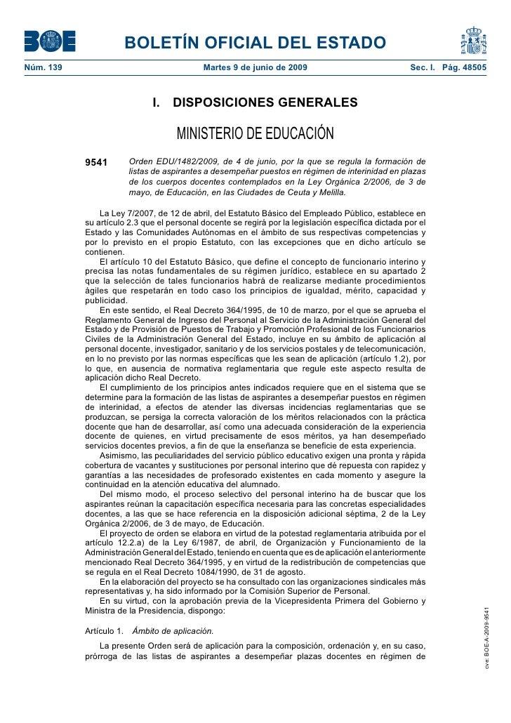 BOLETÍN OFICIAL DEL ESTADO Núm. 139                                   Martes 9 de junio de 2009                           ...