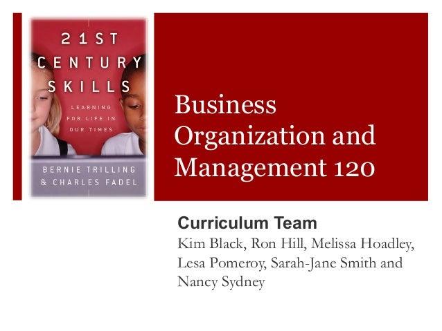 BusinessOrganization andManagement 120Curriculum TeamKim Black, Ron Hill, Melissa Hoadley,Lesa Pomeroy, Sarah-Jane Smith a...