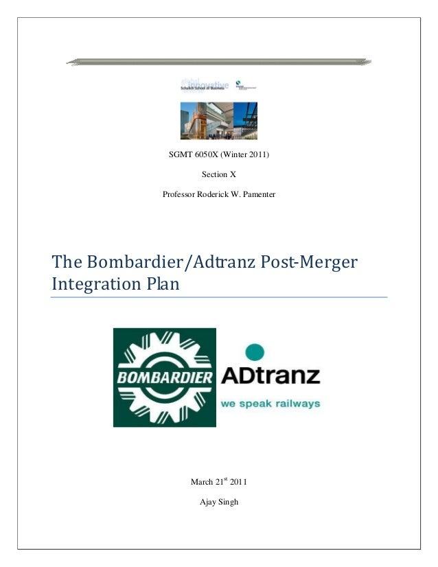 Bombardier Integration Plan