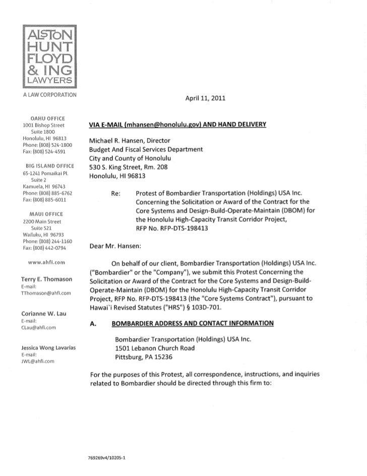 Bombardier Protest Letter: April 11, 2011