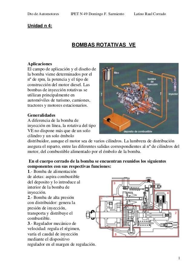 Dto de Automotores IPET N 49 Domingo F. Sarmiento Latino Raul Corrado 1 Unidad n 4: BOMBAS ROTATIVAS VE Aplicaciones El ca...