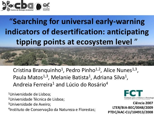 """""""Searching for universal early-warningindicators of desertification: anticipating   tipping points at ecosystem level """"  C..."""