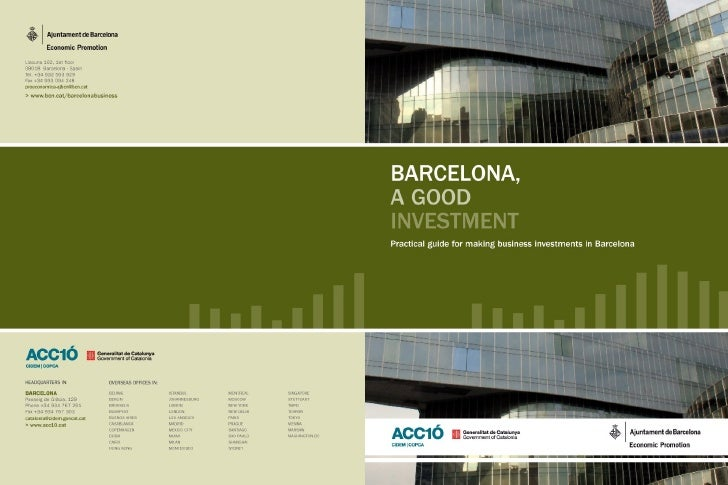LIBRARY OF CATALONIA (BIBLIOTECA DE CATALUNYA) CIP INFORMATION   Barcelona, a good investment : practical guide for  makin...