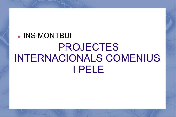 l   INS MONTBUI       PROJECTESINTERNACIONALS COMENIUS          I PELE