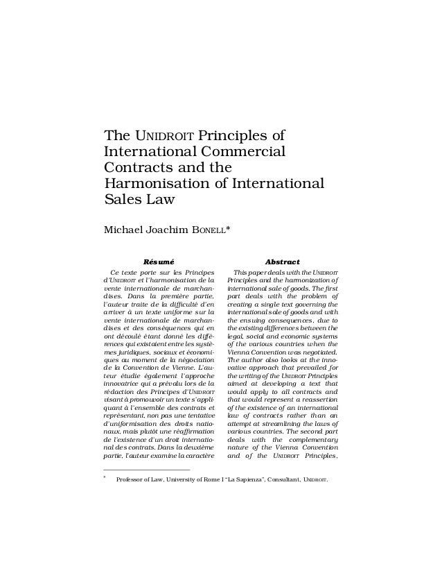 The UNIDROIT Principles ofInternational CommercialContracts and theHarmonisation of InternationalSales LawMichael Joachim ...