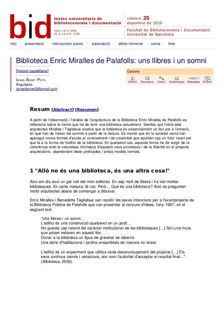 Biblioteca Enric Miralles de Palafolls: uns llibres i un somni