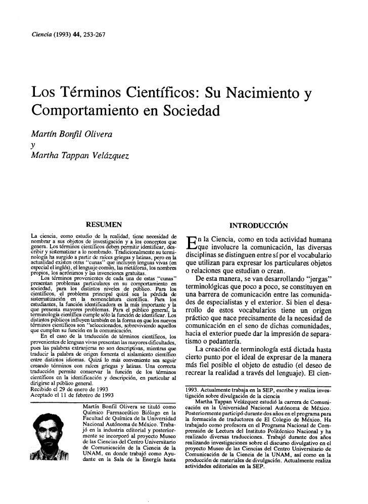 Los términos científicos: su nacimiento y comportamiento en sociedad