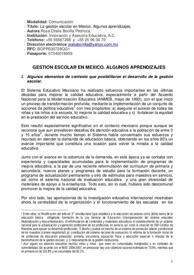 - Modalidad: Comunicación - Título: La gestión escolar en México. Algunos aprendizajes. - Autora:Rosa Oralia Bonilla Pedro...