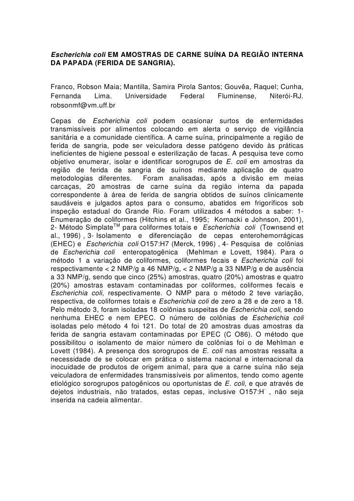 Escherichia coli EM AMOSTRAS DE CARNE SUÍNA DA REGIÃO INTERNA