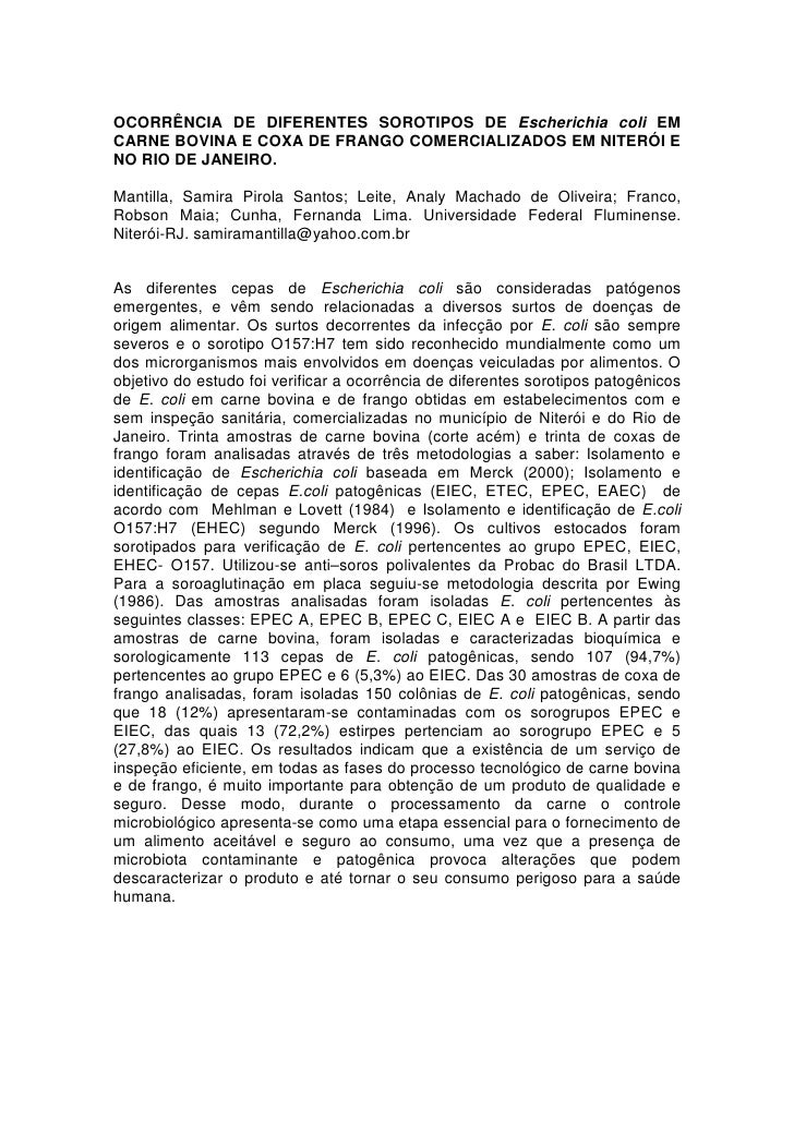 OCORRÊNCIA DE DIFERENTES SOROTIPOS DE Escherichia coli EM
