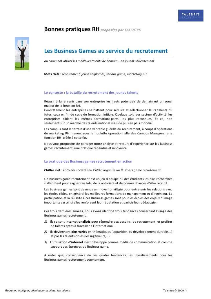 Bonnes pratiques RH proposées par TALENTYS                                   Les Business Games au service du recrutement ...
