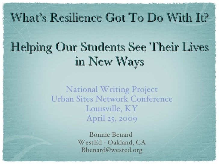 Bonnie Benard: Keynote at 2009 Urban Sites Network Conference