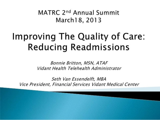 Improving the Quality of Care: Reducing Readmissions