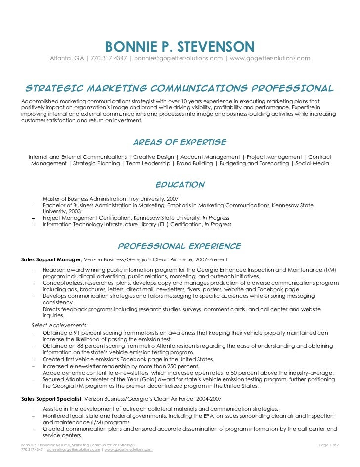 marketing strategist resume bonnie stevenson marketing