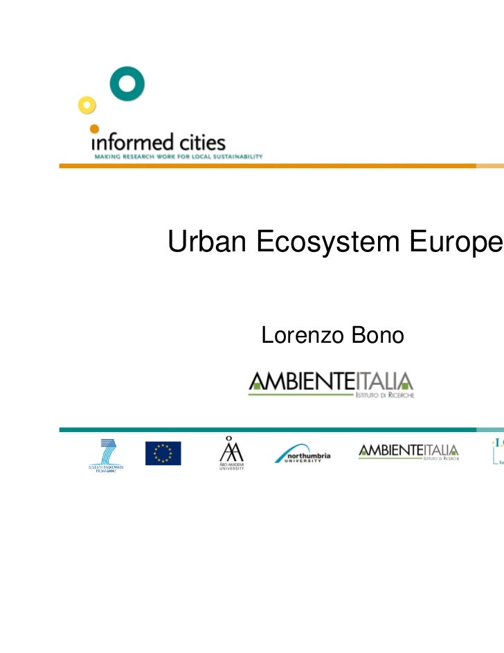 """Urban Ecosystem Europe"" by Lorenzo Bono, Ambiente Italia"