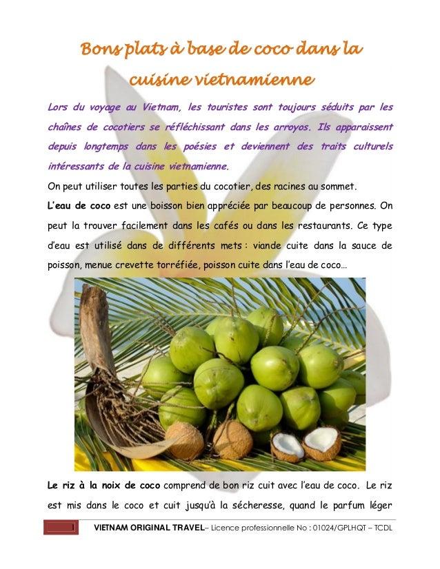 1 VIETNAM ORIGINAL TRAVEL– Licence professionnelle No : 01024/GPLHQT – TCDL Bons plats à base de coco dans la cuisine viet...