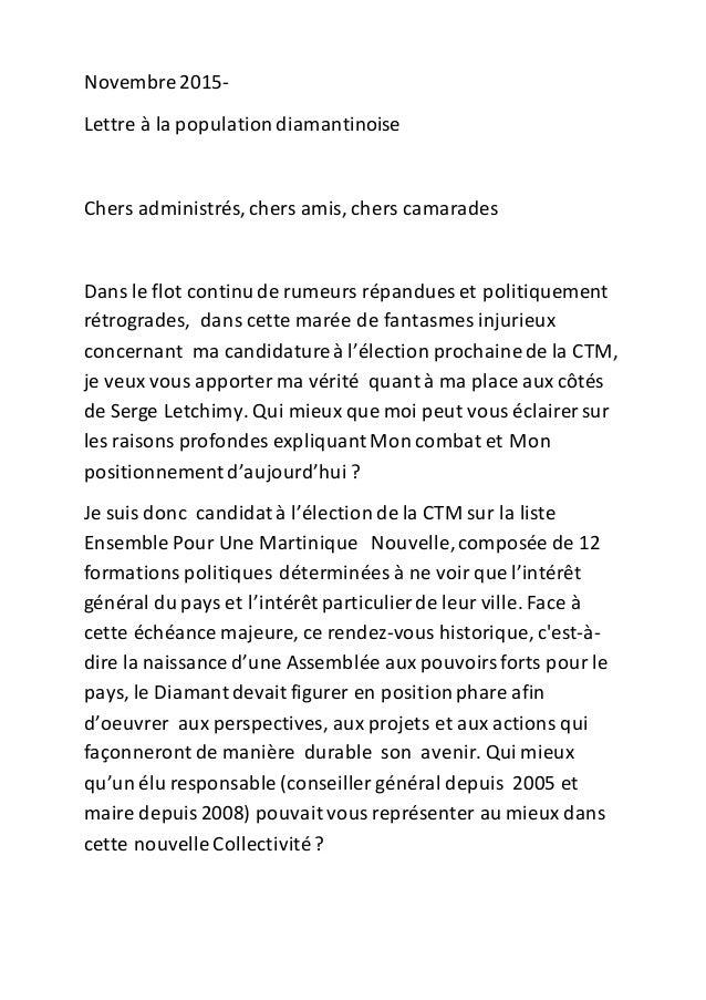 Novembre 2015- Lettre à la populationdiamantinoise Chers administrés, chers amis, chers camarades Dans le flot continude r...