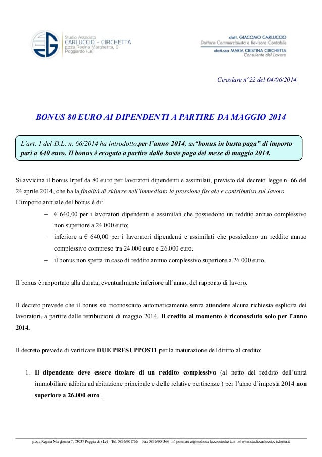 Bonus 80 euro ai dipendenti a partire da 05.2014   circ. n.22 del 04.06.2014