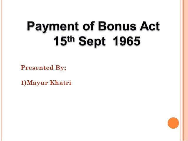 payment of bonus
