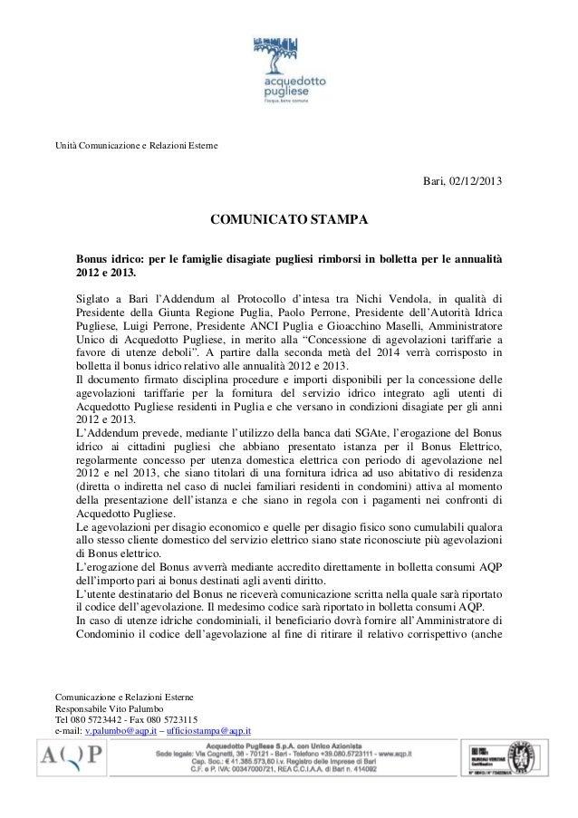 Unità Comunicazione e Relazioni Esterne  Bari, 02/12/2013  COMUNICATO STAMPA Bonus idrico: per le famiglie disagiate pugli...