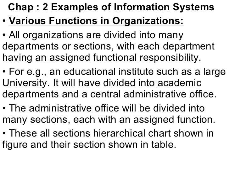 <ul><li>Chap : 2 Examples of Information Systems   </li></ul><ul><li>Various Functions in Organizations:   </li></ul><ul><...