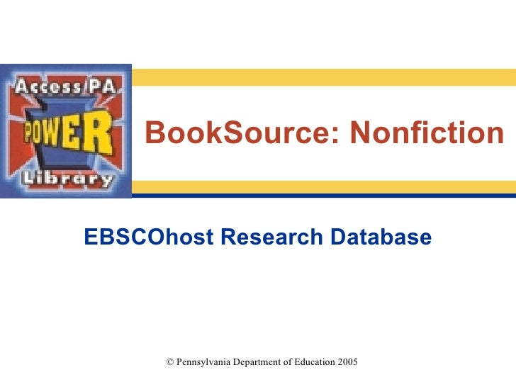 EBSCOhost Research Database BookSource: Nonfiction