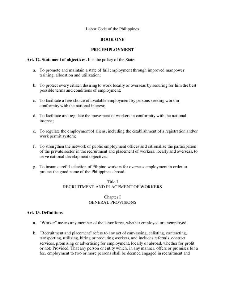 Labor Code of the Philippines                                           BOOK ONE                                     PRE-E...