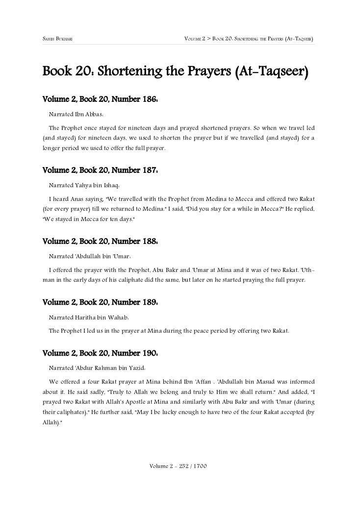SAHIH BUKHARI                                         VOLUME 2 > BOOK 20: SHORTENING THE PRAYERS (AT-TAQSEER)Book 20: Shor...