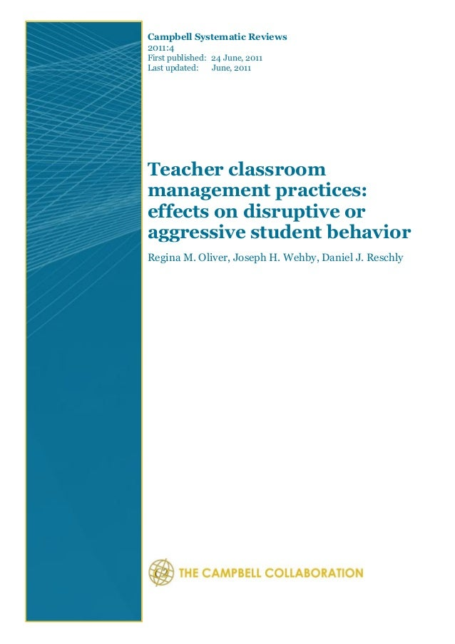 Teacher classroom  management practices:  effects on disruptive or  aggressive student behavior