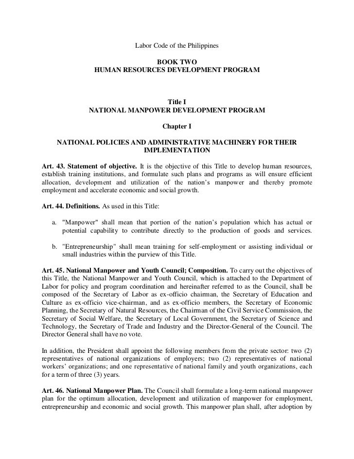 Labor Code of the Philippines                                BOOK TWO                   HUMAN RESOURCES DEVELOPMENT PROGRA...